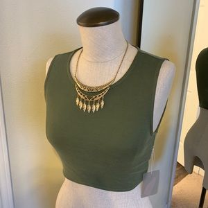 Forever 21 Olive Knit Crop Top